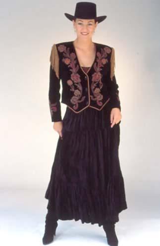 Black Velvet Tiered Broomstick Skirt. #5003