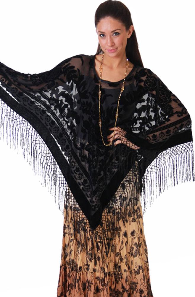 Boho Chic Black Poncho Velvet Top