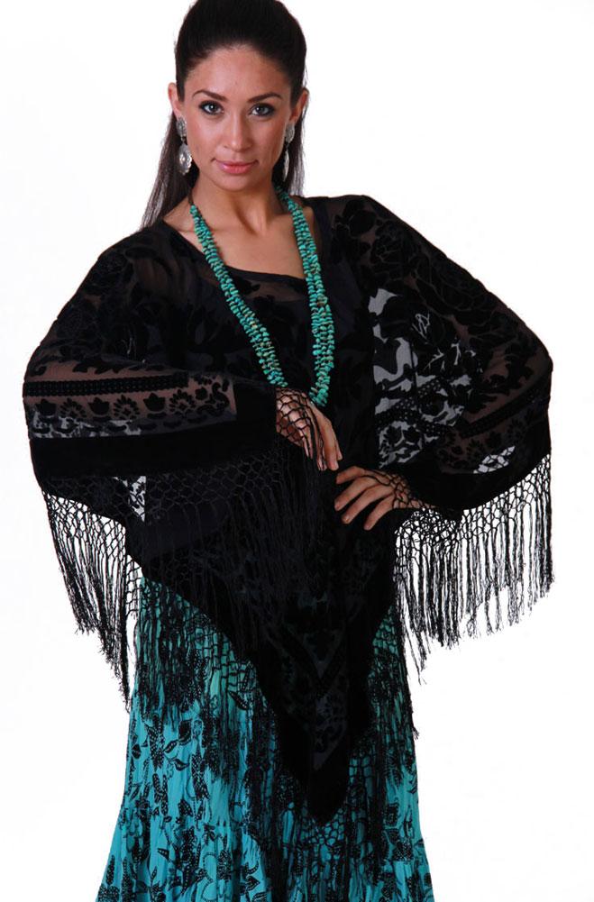 Boho Chic Black Poncho Velvet Top. #BO116P