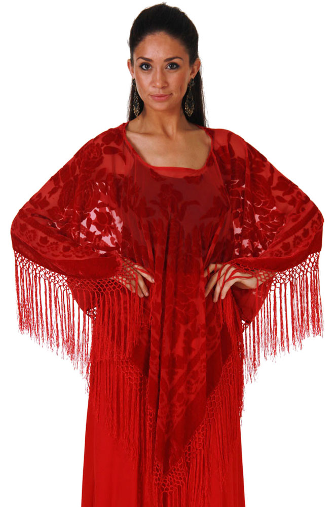 Boho Chic Burnout Rayon and Silk Poncho top. #BO110