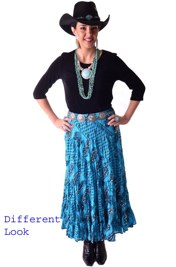 Boho Chic Paisley Print Turquoise Skirt