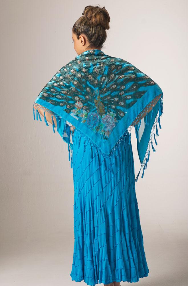 Boho Chic Peacock Beaded Shawl
