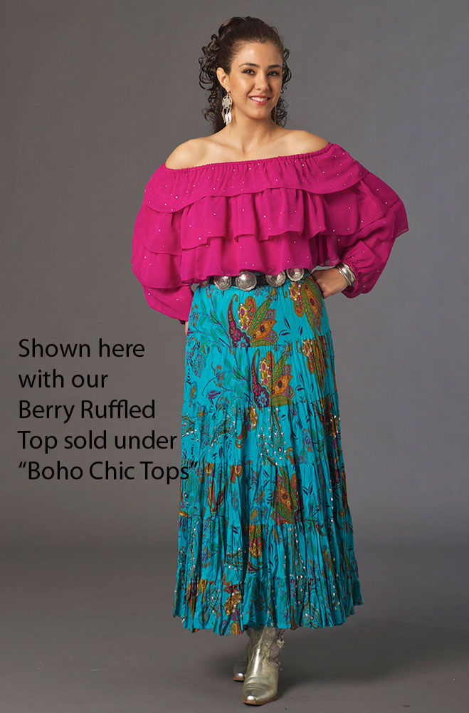 Boho Chic Turquoise Floral Sequined Skirt