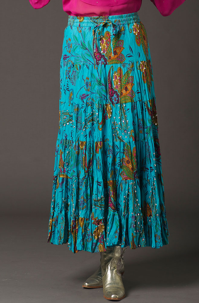 Boho Chic Turquoise Floral Sequined Skirt. #BO217