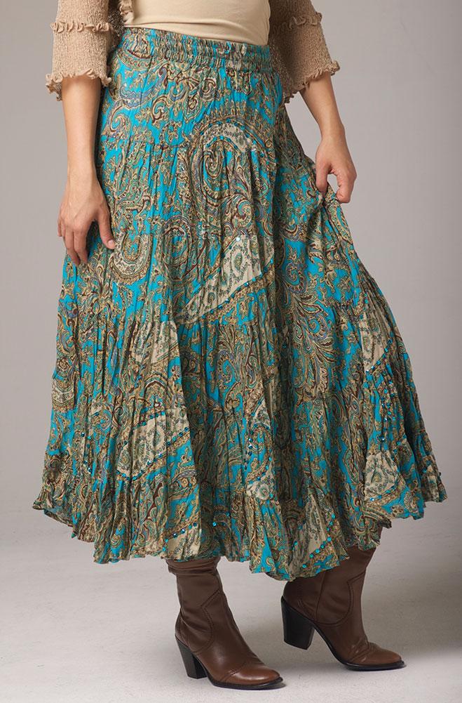 Broomstick Turquoise Multi Skirt. #5089TUR