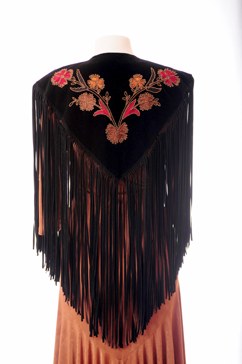 Brown Floral Embroidered Shawl (10 days to ship)