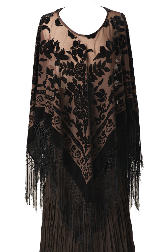 Burnt Out Velvet Sexy Formal Poncho. (3 days to ship). #B01129P