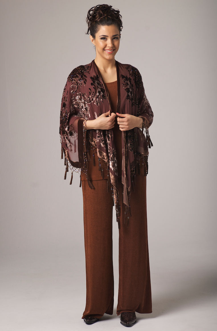 Burnt Out Velvet Long Beaded Shawl. [Limited Edition]. #2094BV