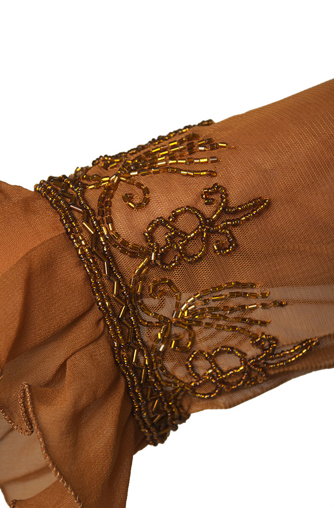 Copper Ruffled Beaded Jacket
