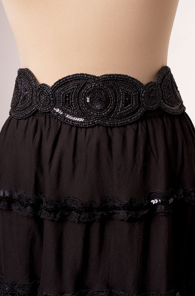 Dazzling Black Beaded Belt. [Limited Edition]. #118BLB