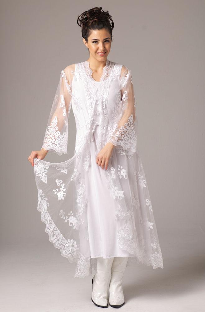 Embroidered Organza Long Wedding Jacket (2 weeks to ship)