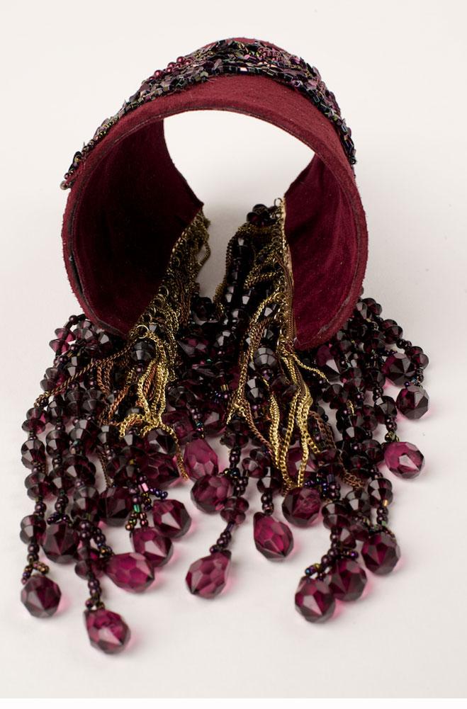 Exquisite Burgundy Suede Beaded Cuff Bracelet