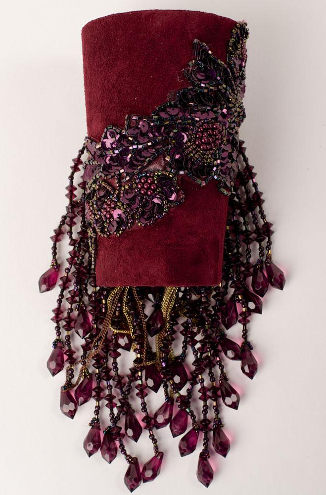 Exquisite Burgundy Suede Beaded Cuff Bracelet. #C159B