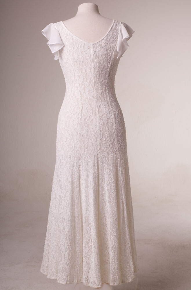 Fit and Flare White Dress with Embellishment (15 days to ship)