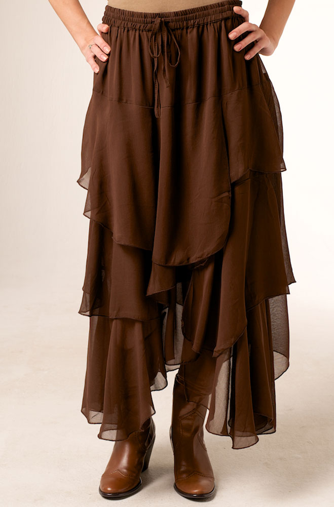 4dd81df42b9 Formal Brown Western Long Skirt - Ann N Eve Collection