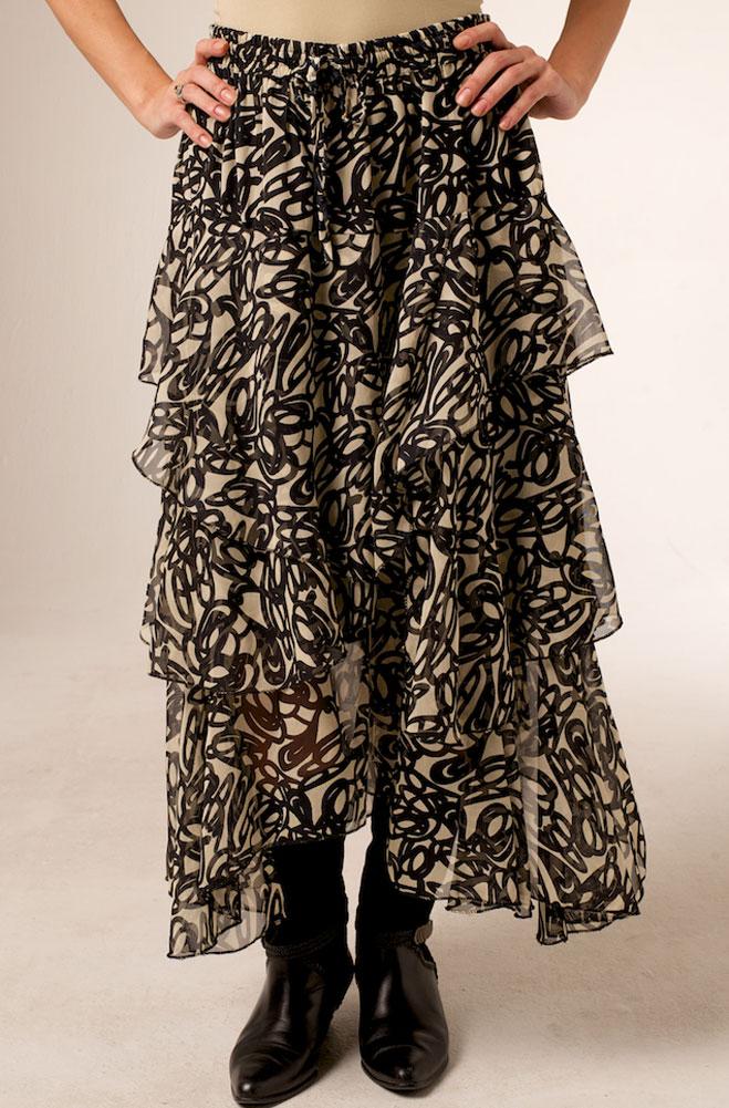 Formal Brown Western Long Skirt