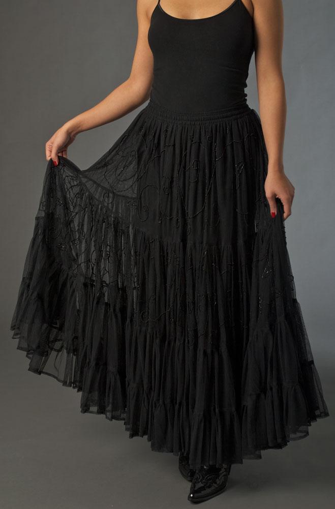 Formal Ruffled Beaded Skirt