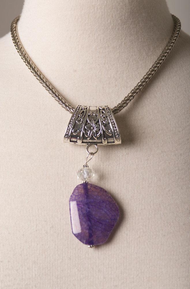Genuine Amethyst Stone Pendant. #AE0126P