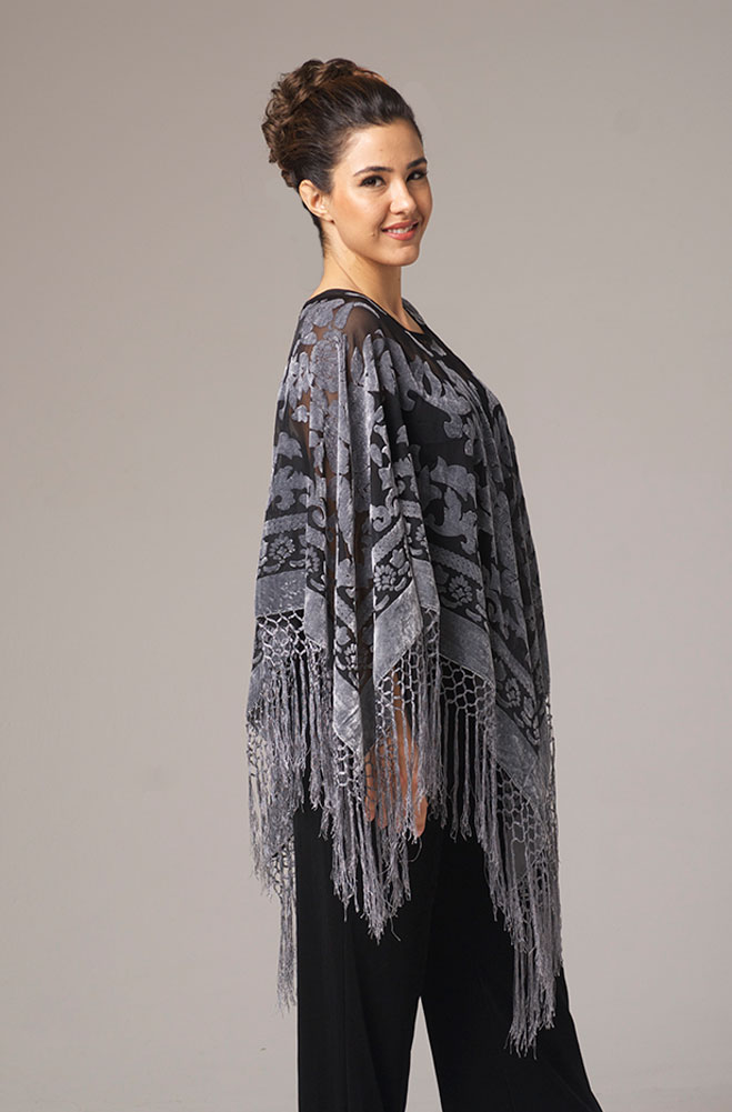 Grey Burnt Out Velvet Pancho Top (3 days to ship)