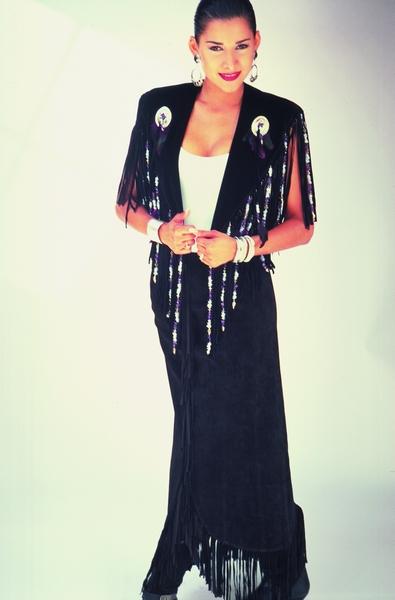 Long Black Fringe Suede Skirt. #5030