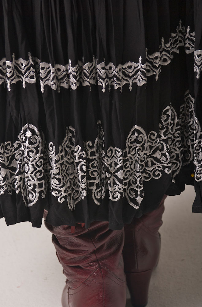 Long Broomstick Embroidered Skirt