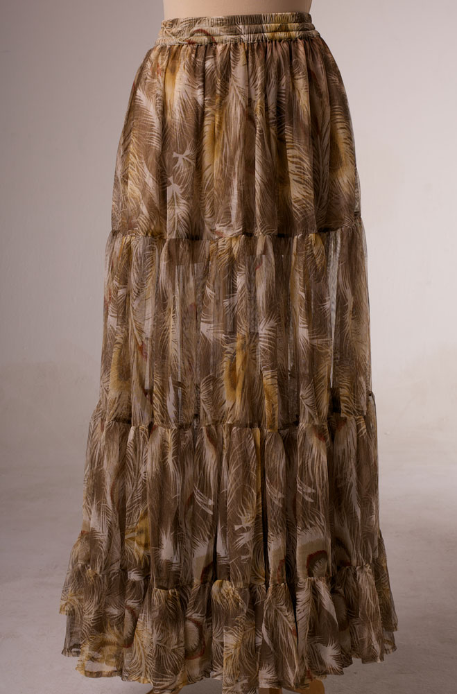 Peacock Feather Printed Long Skirt. (7 days to ship). [Limited Edition]. #5102