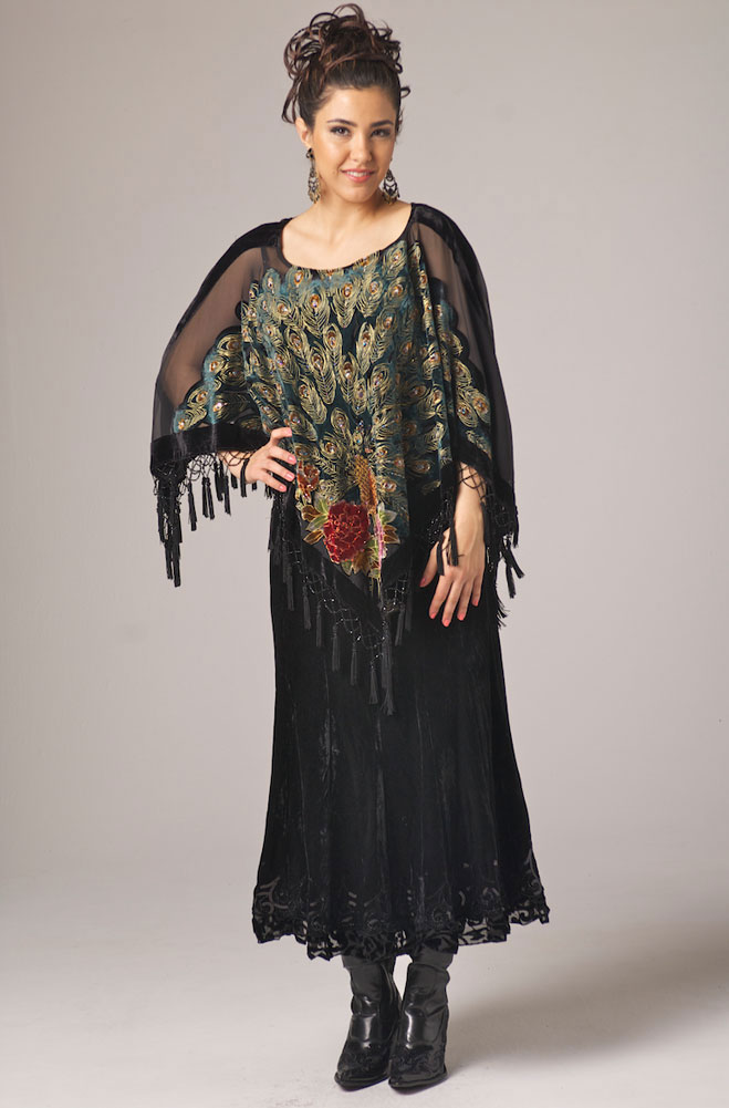 Peacock Pancho With Beaded Fringe (7 days to ship)