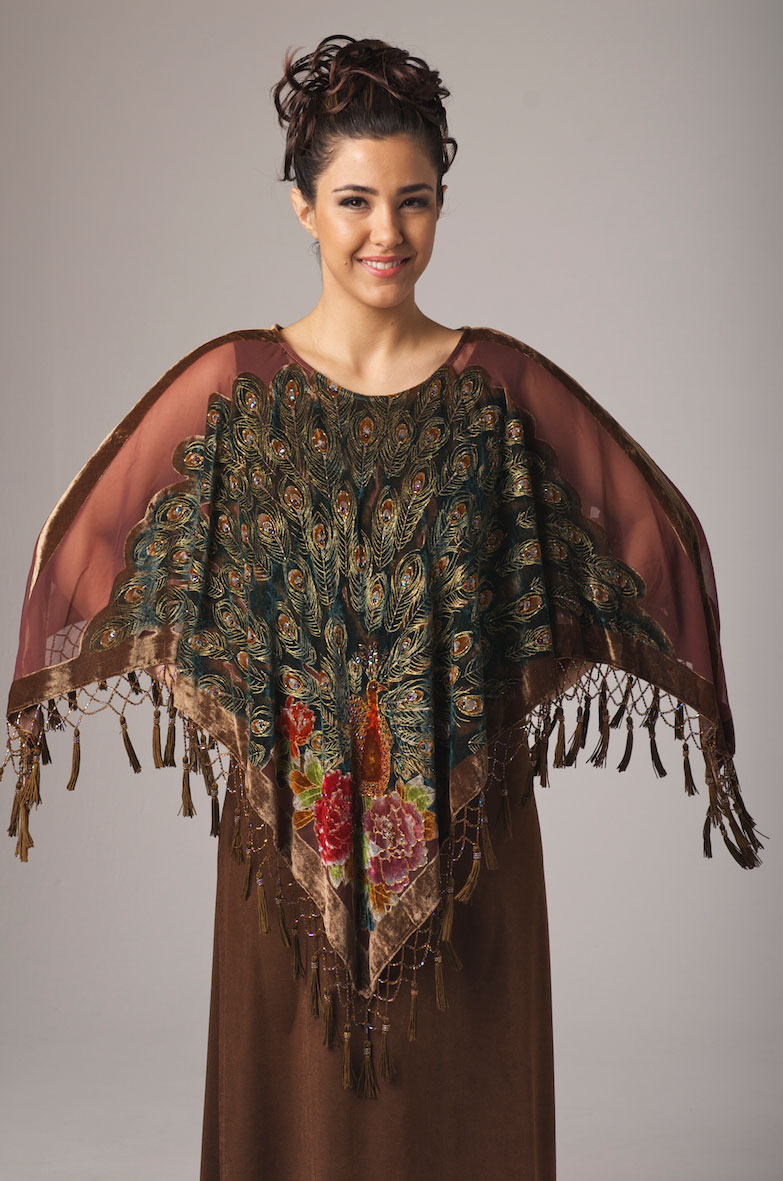 Peacock Poncho With Beaded Fringe. (7 days to ship). #PA07