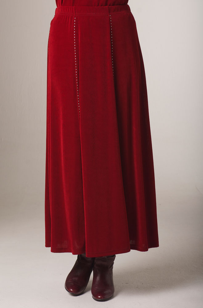 Red Sparkly Long Skirt. #5107J