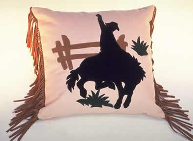 Rodeo horse applique western pillow weeks to ship ann n eve