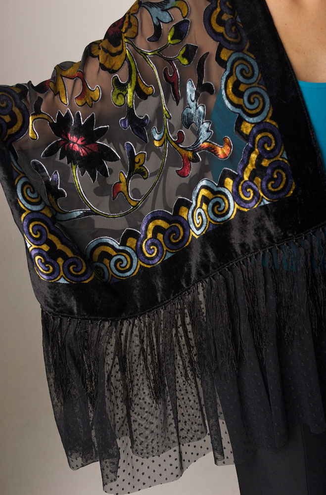 Romantic Burnt-Out Velvet One-of-a-Kind Boho Top