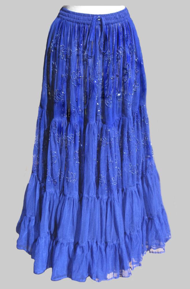 Royal Blue Beaded Skirt. #5095SHB