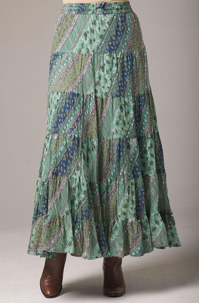Sage Multi Color Flowy skirt. #5088