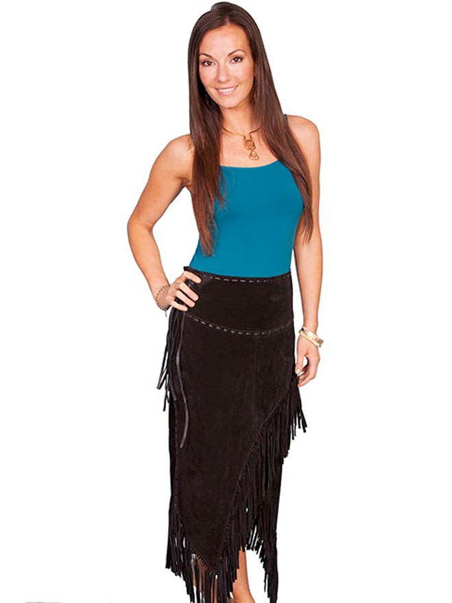Scully Suede Long Skirt with Fringe. (7 days to ship). #L659-19