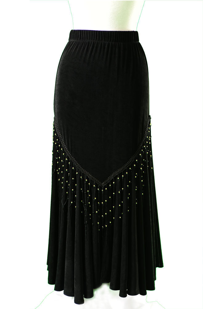 Sexy Fit and Flare Long Black Skirt. (10 days to ship). #5026