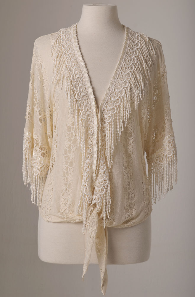Sexy Lace Short Sleeve Blouse With Fringe. (7 days to ship). #4069