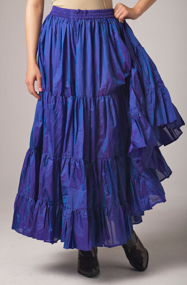 Silk Royal Blue Ruffled Skirt. (7 days to ship). [Limited Edition]. #5094SHB