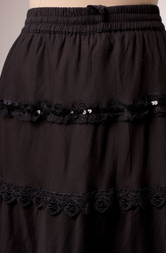 Tiered Romantic Black Embellished Skirt (7 days to ship)