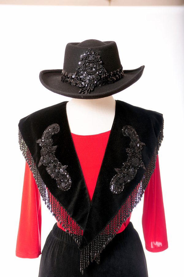 Western Gamblers Felt Black Sequined Hat