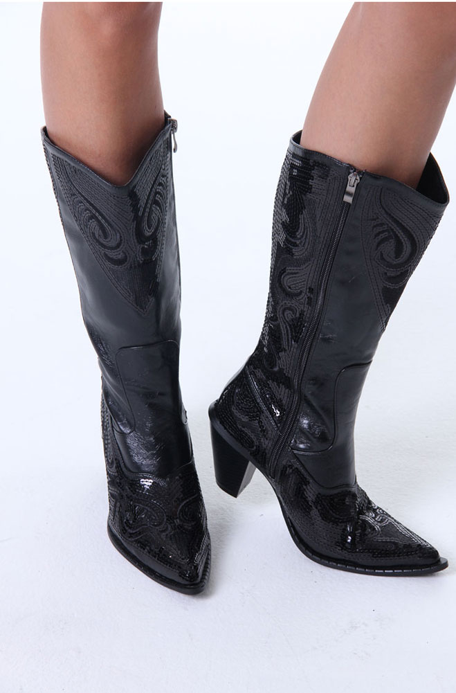 bac83f493d9 Western Sequined Boot. (7 days to ship). #101SBT