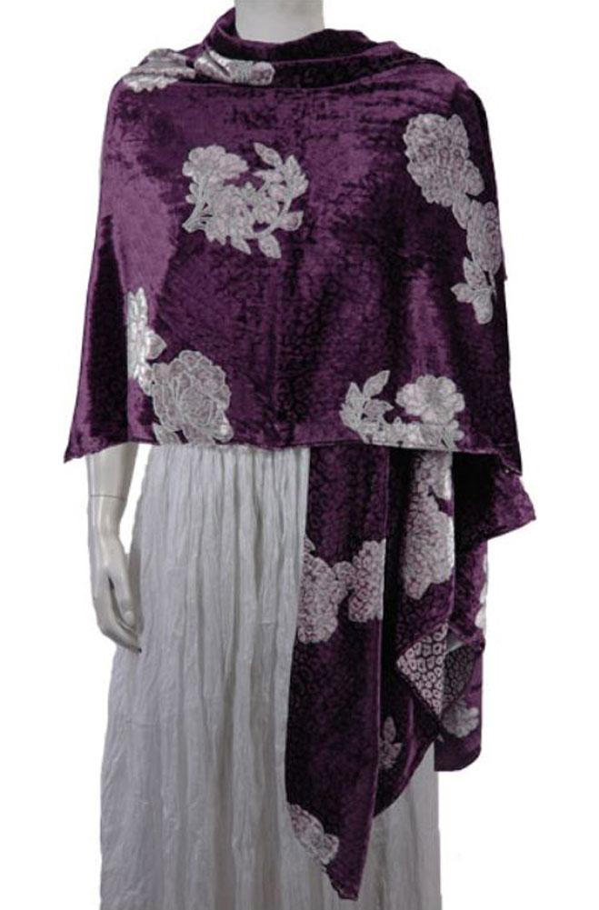 Western Vintage Velvet Rose Reversible Shawl