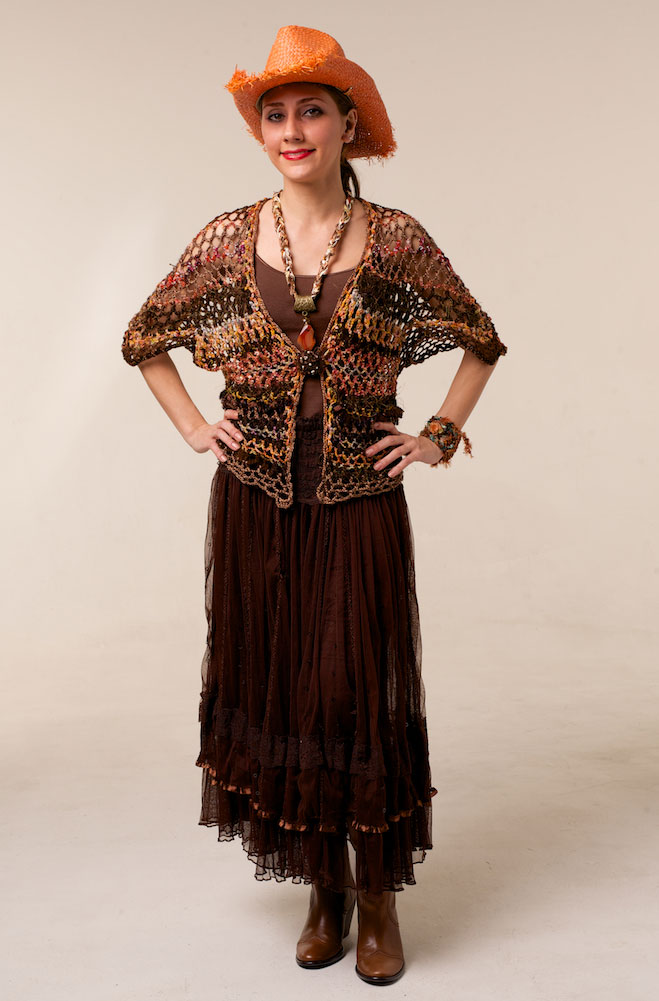 Bohemian Hand Knitted One-Of-A-Kind Vest in Brown Multi. (3 days to ship). #AE0140HK