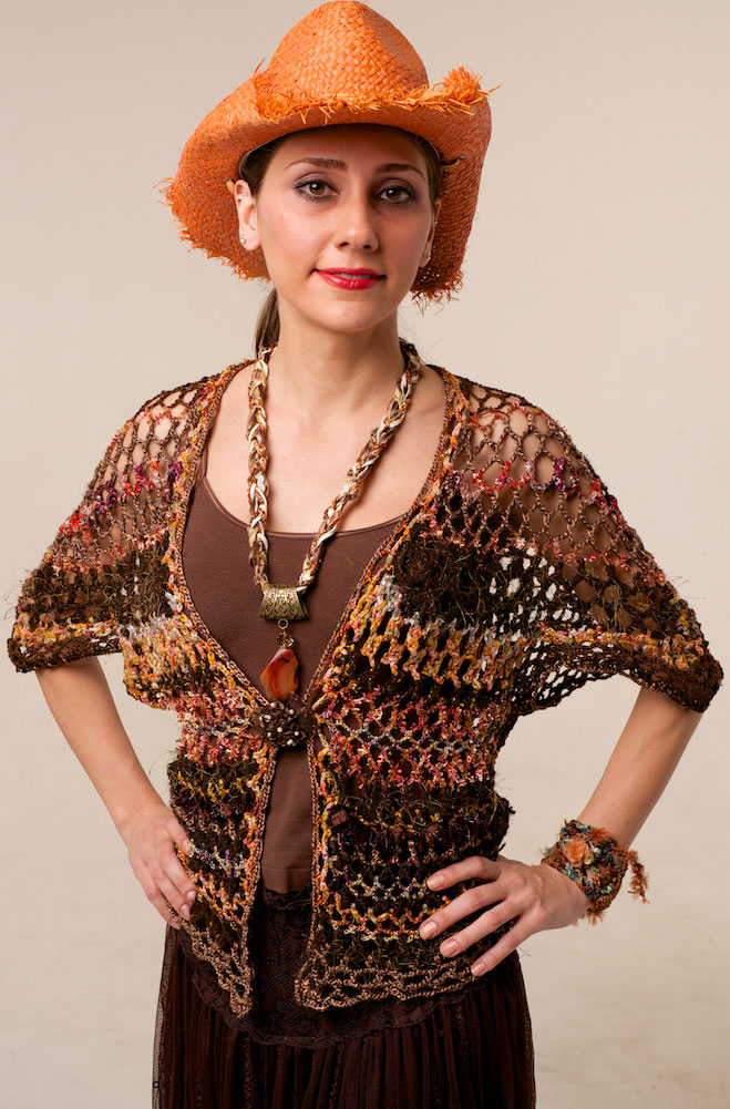 Bohemian Hand Knitte One-Of-A-Kind Vest in Brown Multi