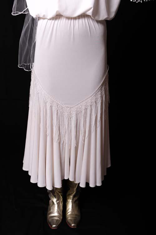 White Lacey fringe Skirt. (7 days to ship). #5035WJK