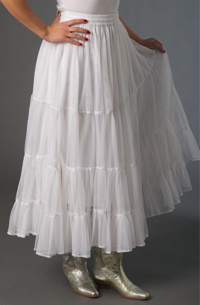 White Ruffled Net Mesh Skirt