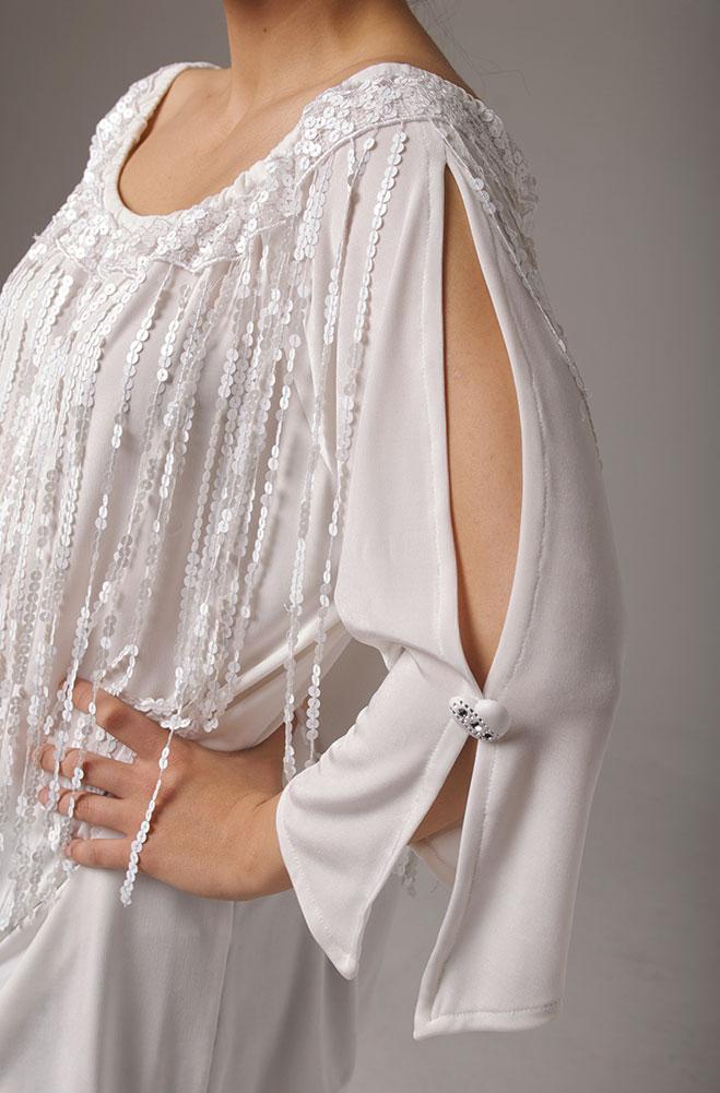 White Wedding Sequinned Fringe Tunic (7 days to ship)