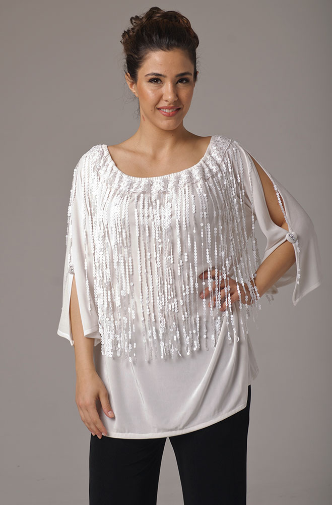 White Wedding Sequined Fringe Tunic. (10 days to ship). [Limited Edition]. #AE430SQ