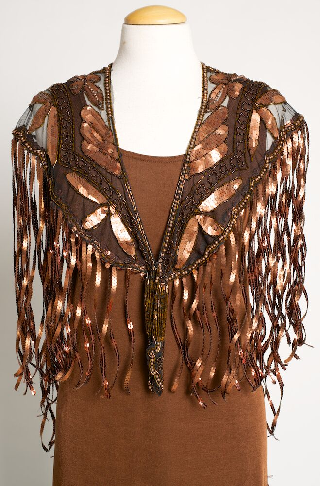 Beaded Buffalo Copper Color Shawl. [Limited Edition]. #SH1001-17