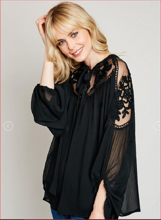 Formal Floral Lace Sheer Tunic Blouse #BL121618