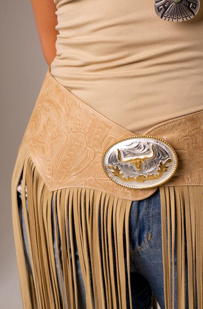 Tooled Leather Belt with Long Fringe